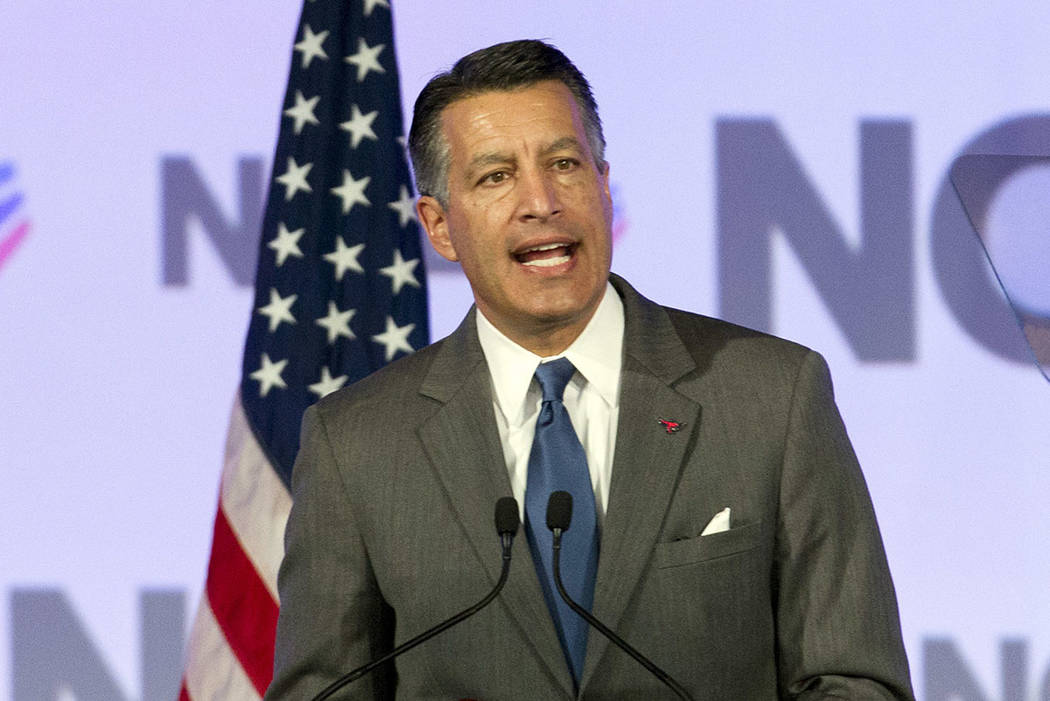 Gov. Brian Sandoval of Nevada speaks during the National Governor Association 2018 winter meeting on Saturday, Feb. 24, 2018, in Washington. (AP Photo/Jose Luis Magana)