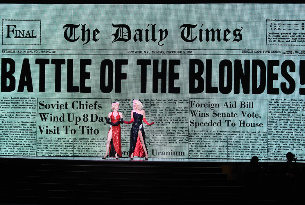 """Marilyn Monroe (Ruby Lewis) and Jayne Mansfield (Una Eggerts) face off in """"The Battle of the Blondes"""" during the new musical """"Marilyn!"""" at Paris Las Vegas."""