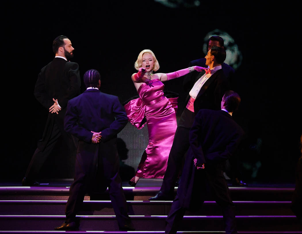 """Denise Truscello Marilyn Monroe (Ruby Lewis) performs """"Diamonds Are a Girl's Best Friend"""" in the new musical """"Marilyn!"""" at Paris Las Vegas."""