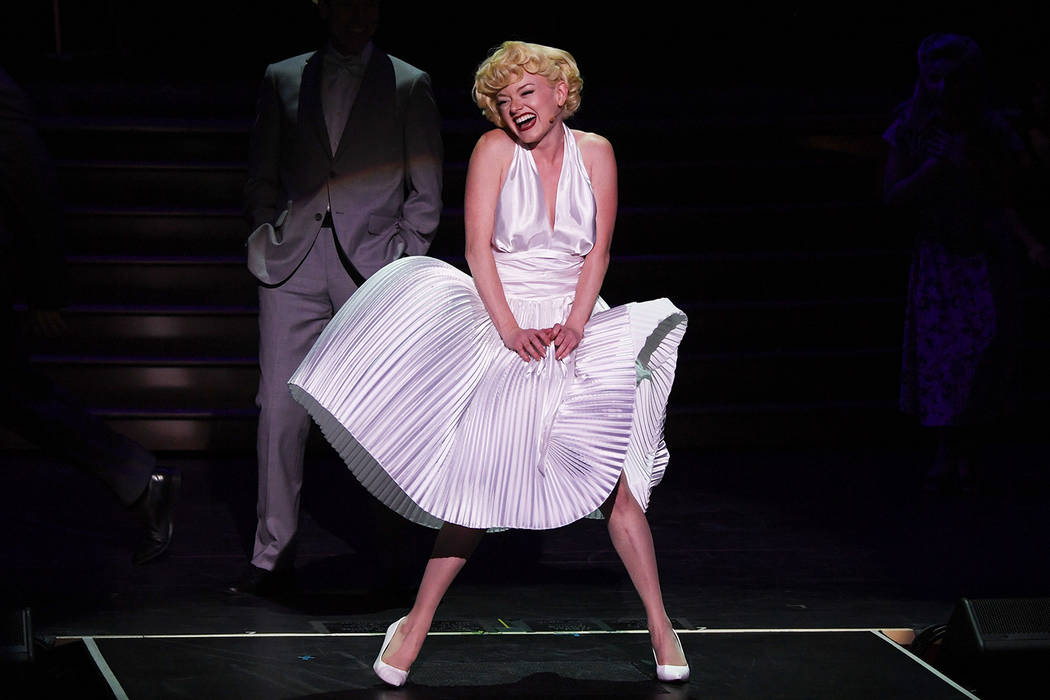"""Ruby Lewis, as Marilyn Monroe, re-creates an iconic moment from """"The Seven-Year Itch"""" in the new musical """"Marilyn! at Paris Las Vegas. (Denise Truscello)"""