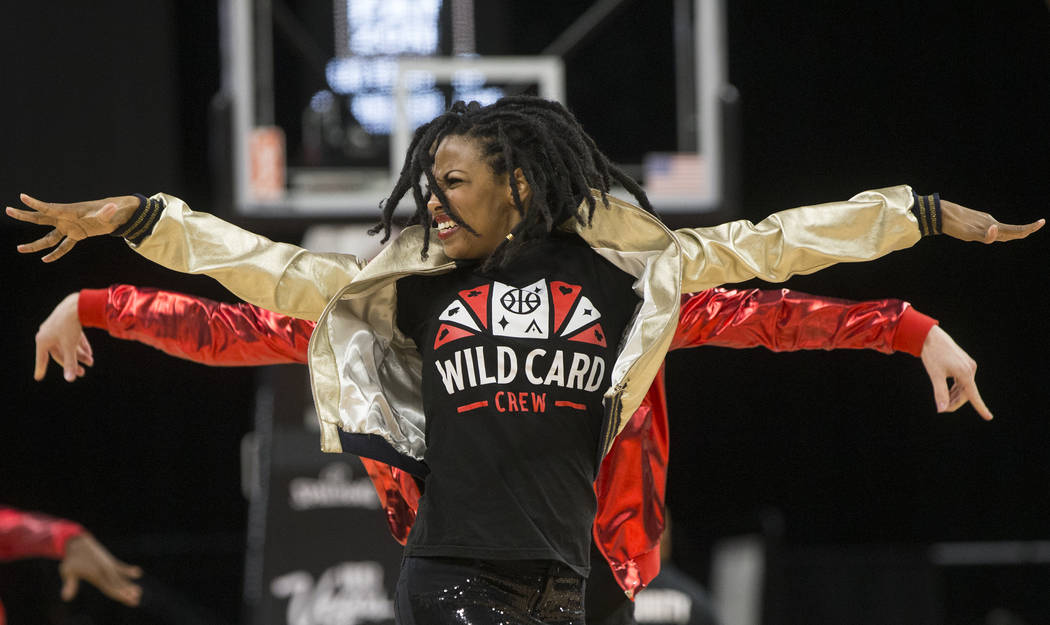 The Aces Wild Card Crew performs at the end of the first quarter on Wednesday, Aug. 15, 2018, at the Mandalay Bay Events Center, in Las Vegas. Benjamin Hager Las Vegas Review-Journal @benjaminhphoto