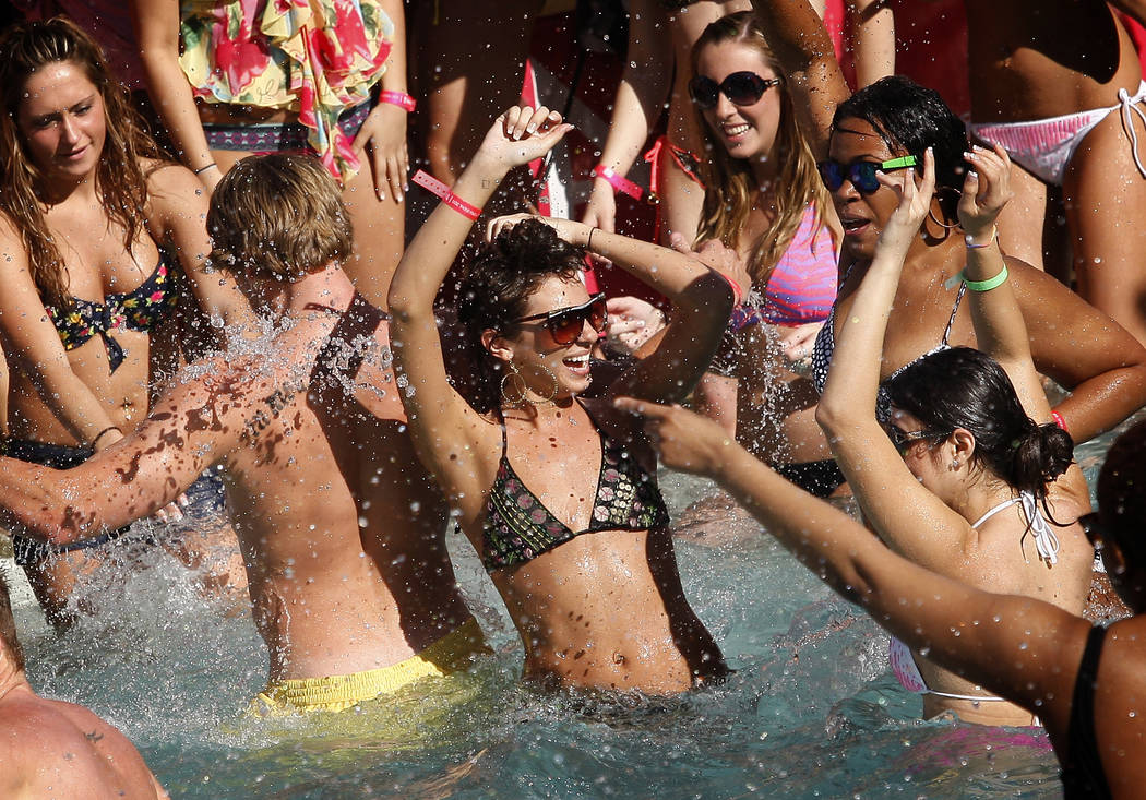 Partiers play in the pool at the Palms hotel-casino during filming for an episode of MTV's Spring Break 2011 on Mar. 8, 2011, in Las Vegas. RJ FILE*** JESSICA EBELHAR/LAS VEGAS REVIEW-JOURNAL ...