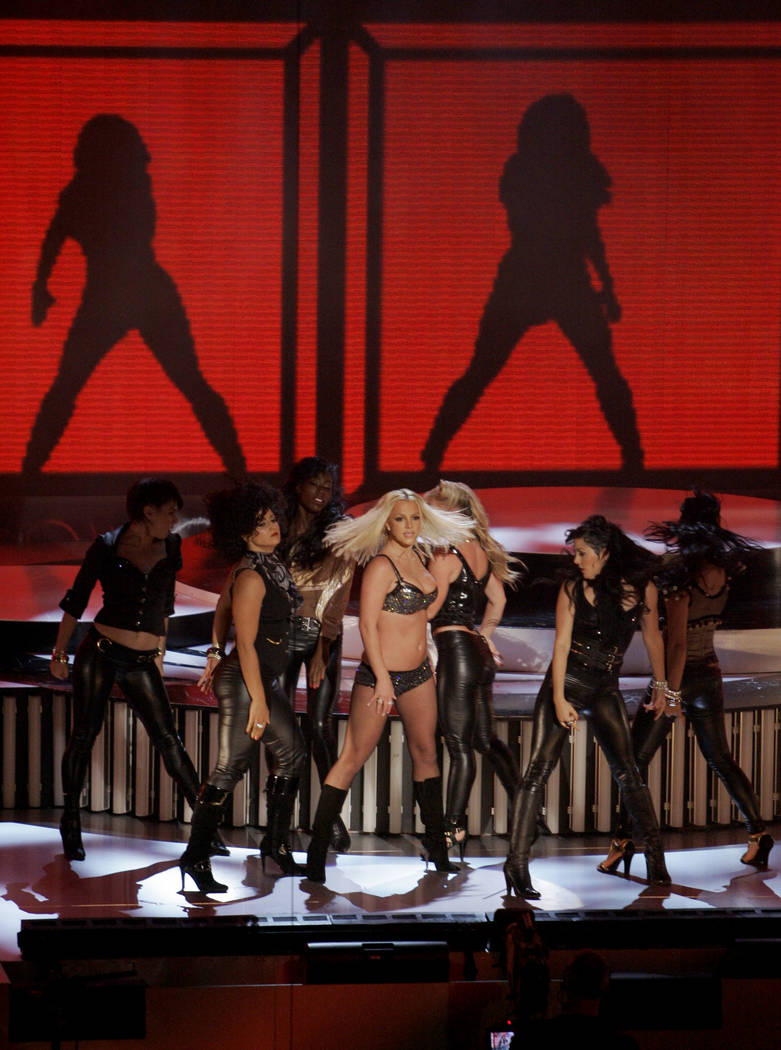 "Britney Spears performs ""Gimme More,"" at the MTV Video Music Awards at the Palms Hotel and Casino on Sunday, Sept. 9, 2007, in Las Vegas. (AP Photo/Mark J. Terrill)"