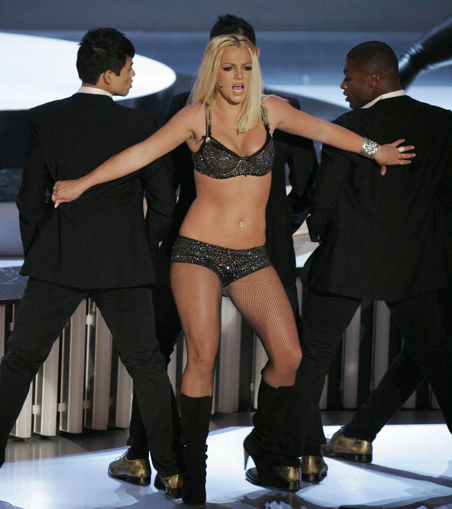 Britney Spears performs at the MTV Video Music Awards at the Palms Hotel and Casino on Sunday, Sept. 9, 2007, in Las Vegas. (AP Photo/Mark J. Terrill)