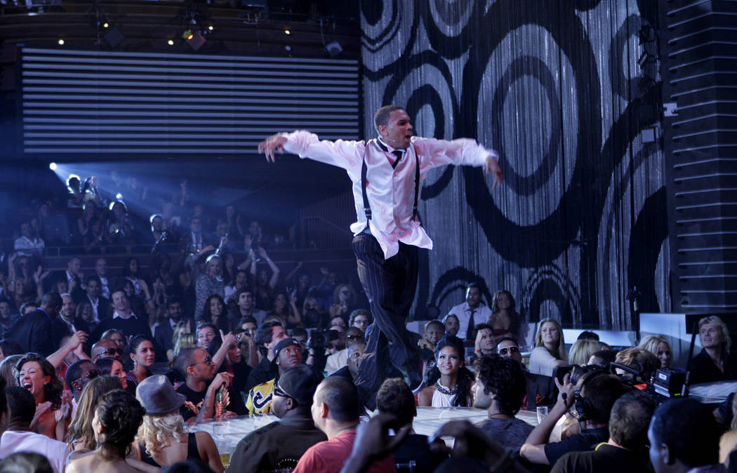 Chris Brown performs at the MTV Video Music Awards at the Palms Hotel and Casino on Sunday, Sept. 9, 2007, in Las Vegas. (AP Photo/Kevork Djansezian)