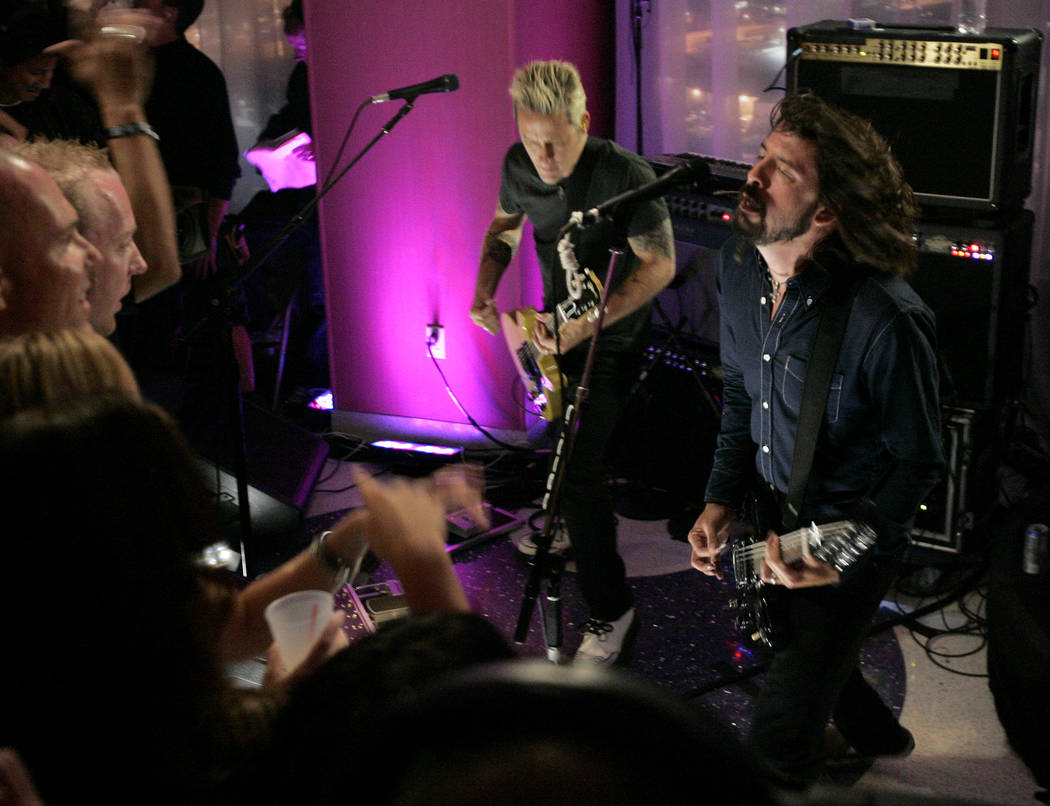 The Foo Fighters perform at the party suites during the MTV Video Music Awards at the Palms Hotel and Casino on Sunday, Sept. 9, 2007, in Las Vegas. (AP Photo/Chris Carlson)