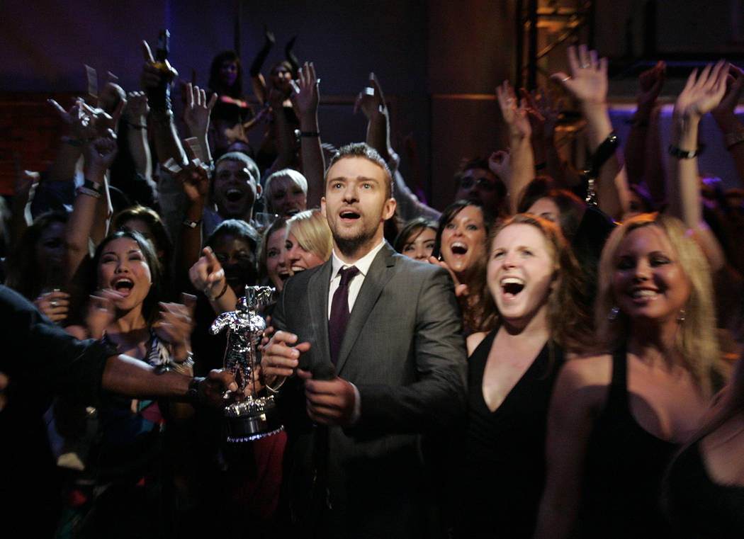 Justin Timberlake watches the show from the party suites as he wins the award for Quadruple Threat of the Year at the party suites, during the MTV Video Music Awards at the Palms Hotel and Casino ...