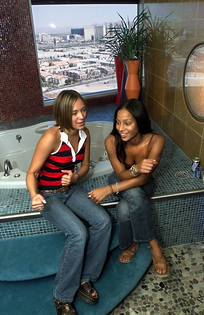 Shown in the bathroom of the penthouse suite, MTV's Real World Las Vegas cast members Brynn, 21, left, and Irulan, 22, (no last names per the show's policy) talk about their experiences during the ...