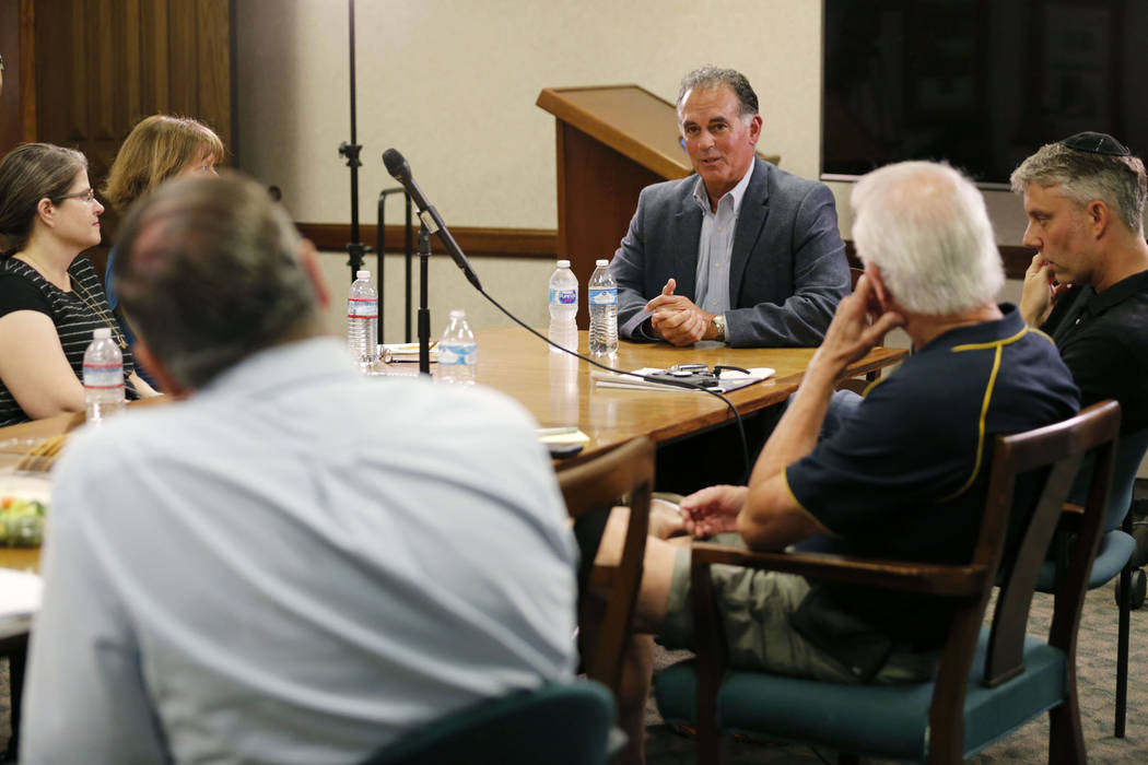 Danny Tarkanian, Republican candidate for the 3rd Congressional District, center, speaks during the Las Vegas Review-Journal Reader Panel at the RJ in Las Vegas, Wednesday, Aug. 15, 2018. Chitose ...
