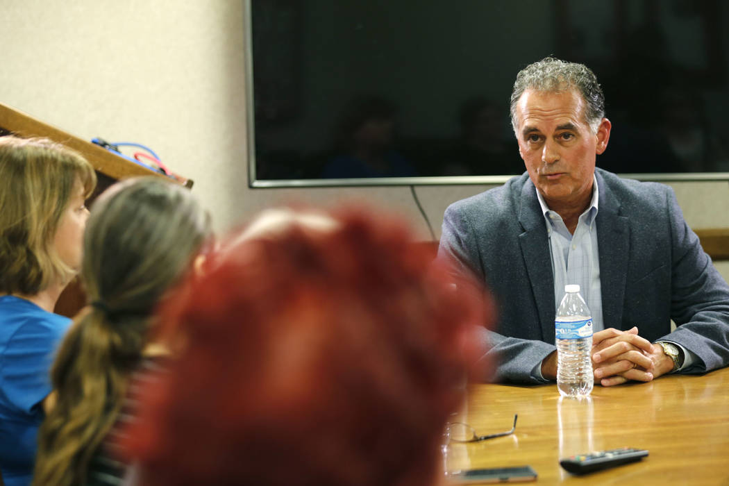 Danny Tarkanian, Republican candidate for the 3rd Congressional District, right, speaks during the Las Vegas Review-Journal Reader Panel at the RJ in Las Vegas, Wednesday, Aug. 15, 2018. Chitose S ...
