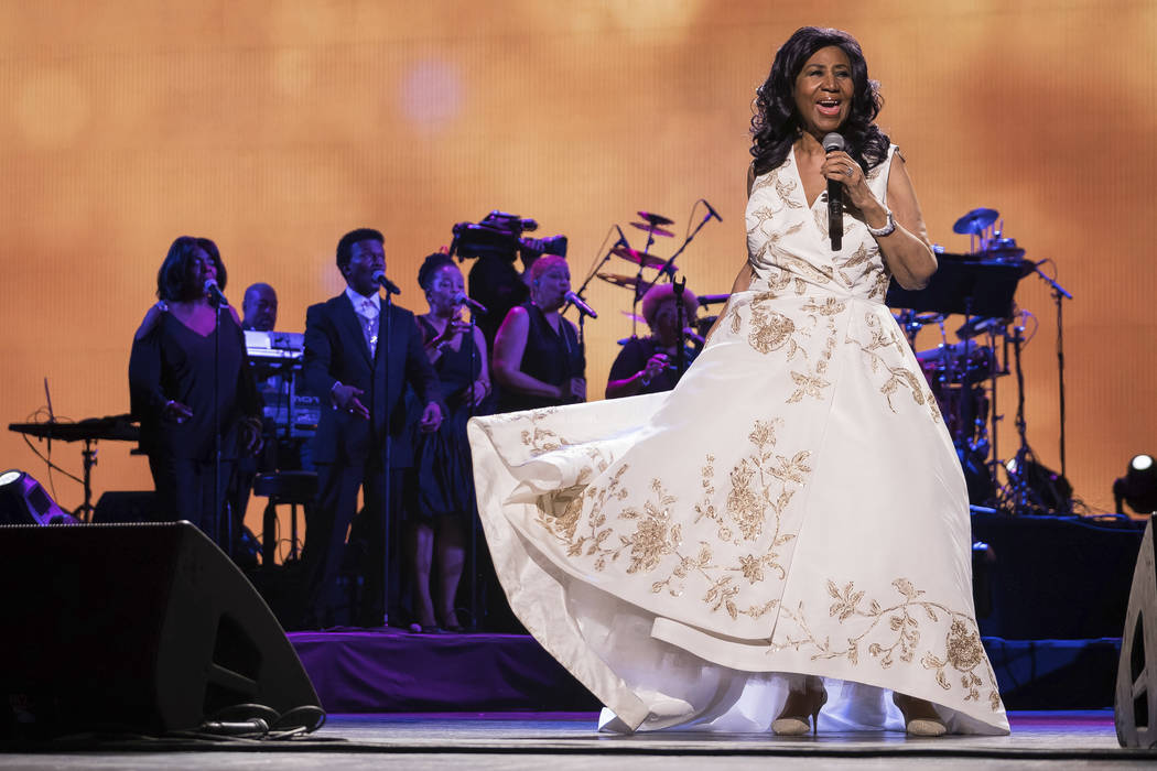 "FILE - In this April 19, 2017, file photo, Aretha Franklin performs at the world premiere of ""Clive Davis: The Soundtrack of Our Lives"" at Radio City Music Hall, during the 2017 Tribeca ..."