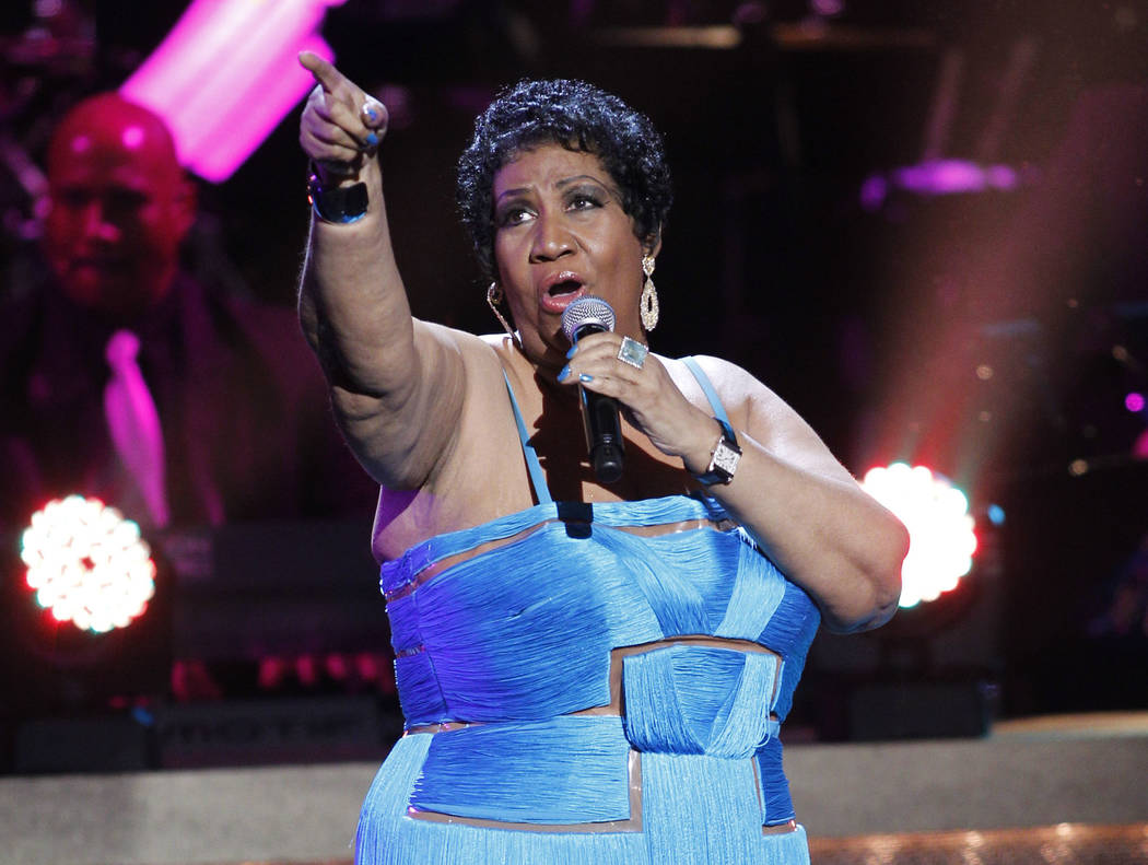 Aretha Franklin performs during the BET Honors at the Warner Theatre in Washington, Jan. 14, 2012. Franklin died Thursday, Aug. 16, 2018 at her home in Detroit. She was 76. (Jose Luis Magana/A ...