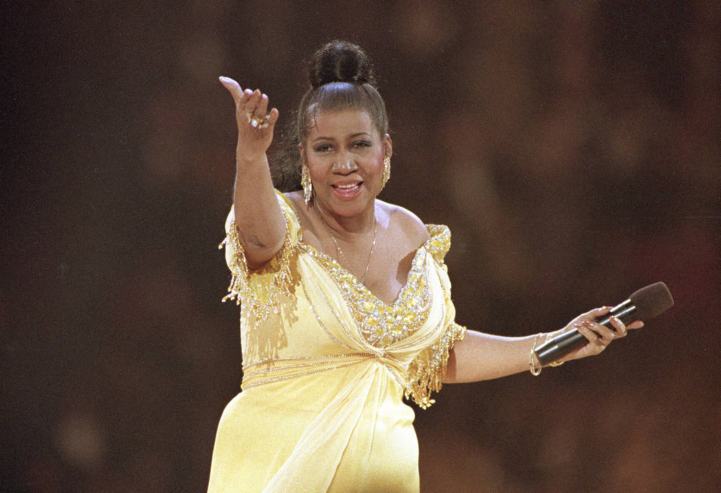 Singer Aretha Franklin performs at the inaugural gala for President Bill Clinton in Washington, Jan. 19, 1993. Franklin died Thursday, Aug. 16, 2018 at her home in Detroit. She was 76. (Amy Sance ...