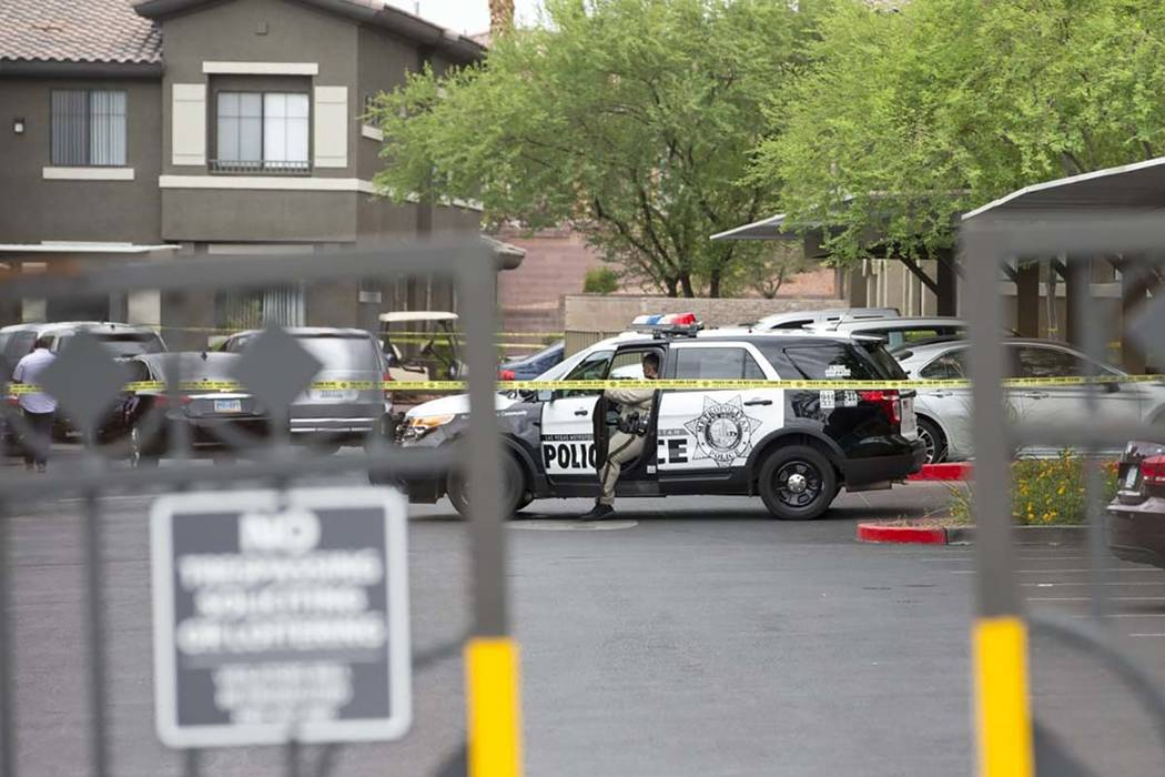 Las Vegas police are investigating an apparent murder-suicide in the southwest valley. (Richard Brian/Las Vegas Review-Journal) @vegasphotograph