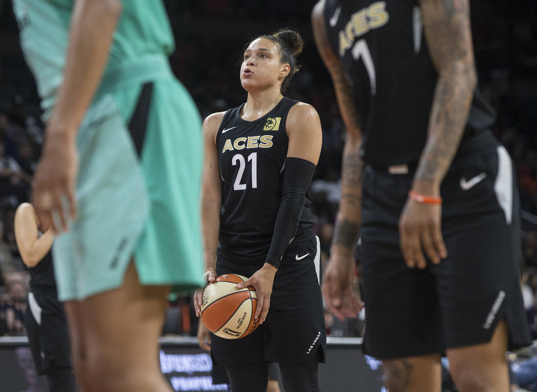 Aces guard Kayla McBride (21) shoots a free throw in the fourth quarter during Las Vegas' home matchup with the New York Liberty on Wednesday, Aug. 15, 2018, at the Mandalay Bay Events Center, in ...