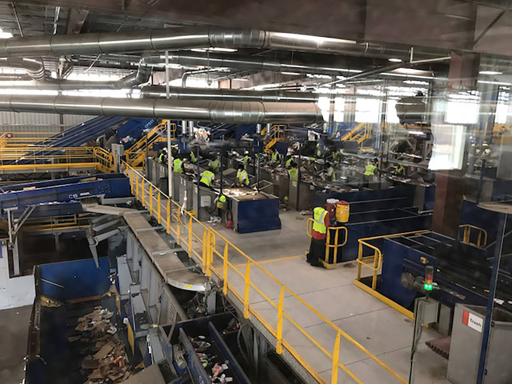 Part of conveyor system for recyclables at Republic's Southern Nevada Recycling Center. (Photo by Herb Jaffe)