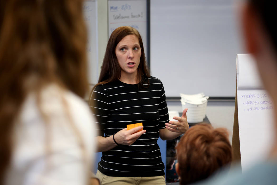 Dawn Trujillo talks to her robotics class about ideas to raise money at Las Vegas Academy in Las Vegas, Thursday, Aug. 16, 2018. The robotics team—the Robot Pigeons—was created last ...