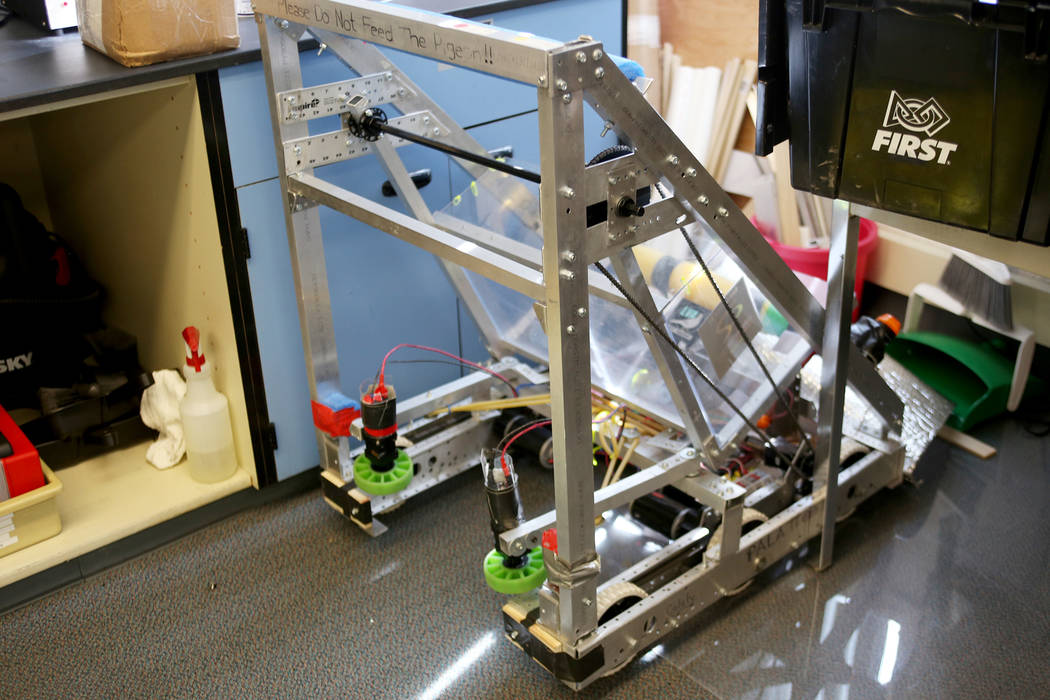 The robot made by the robotics team that won second place in the First Nevada Regional Robotics Competition last year at Las Vegas Academy in Las Vegas, Thursday, Aug. 16, 2018. It was the inaugur ...