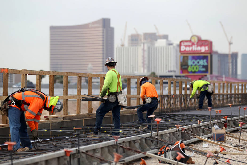 Work continues on Nevada Department of Transportation Project Neon on Interstate 15 between the Spaghetti Bowl and Sahara Avenue Thursday, Aug. 2, 2018. (K.M. Cannon Las Vegas Review-Journal @KMCa ...