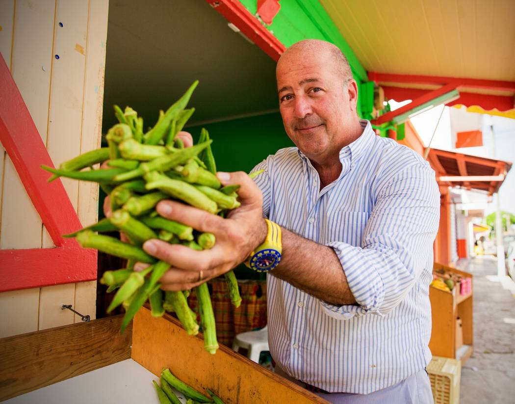 Host Andrew Zimmern tours a market in St. Francois, Guadaloupe. As seen on Travel Channel's The Trip 2016