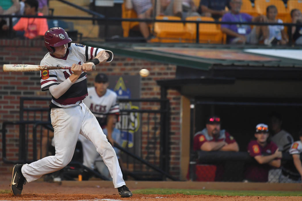 Colby Smith of the Desert Oasis Aces hits a double in the bottom of the second inning during the American Legion World Series at Veterans Field at Keeter Stadium in Shelby, N.C., on Thursday, Aug ...