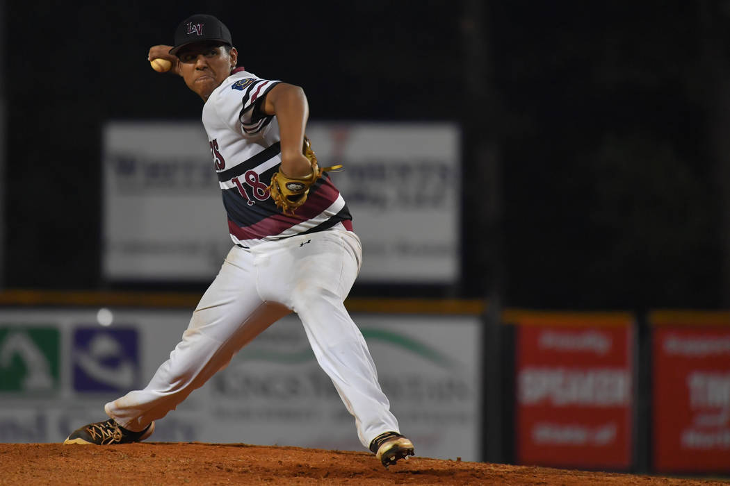 Desert Oasis Aces pitcher Jimmy Gamboa throws during the American Legion World Series at Keeter Stadium in Shelby, N.C., on Thursday, Aug. 16, 2018. Lucas Carter/The American Legion.