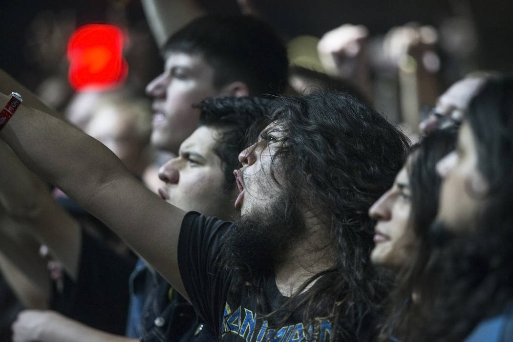 Fans cheer for Ace Frehley, former guitarist and founding member of Kiss, during Psycho Las Vegas on Saturday, Aug 19, 2017, at the Hard Rock hotel-casino, in Las Vegas. Benjamin Hager Las Vegas R ...