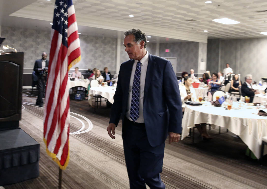 Danny Tarkanian, Republican candidate for the 3rd Congressional District, takes the podium during the Women's Chamber 2018 candidate forum luncheon event on Friday, Aug. 17, 2018, in Las Vegas. Bi ...