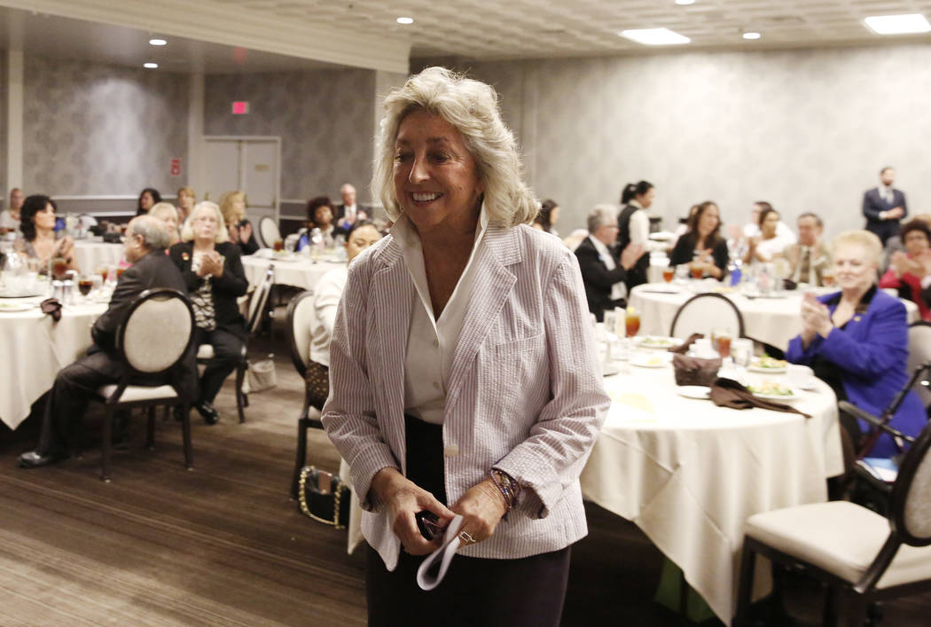 Dina Titus, Democratic candidate for the 1st Congressional District., takes the podium during the Women's Chamber 2018 candidate forum luncheon event on Friday, Aug. 17, 2018, in Las Vegas. Bizuay ...