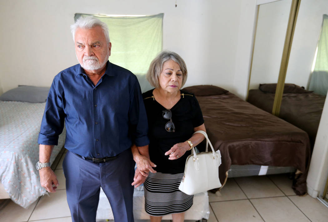 Francisco and Josefina Pacheco visit room Thursday, Aug. 9, 2018, where their niece, Ethel Matteos, was found dead from an apparent suicide. Matteos had been released to the independent living hom ...