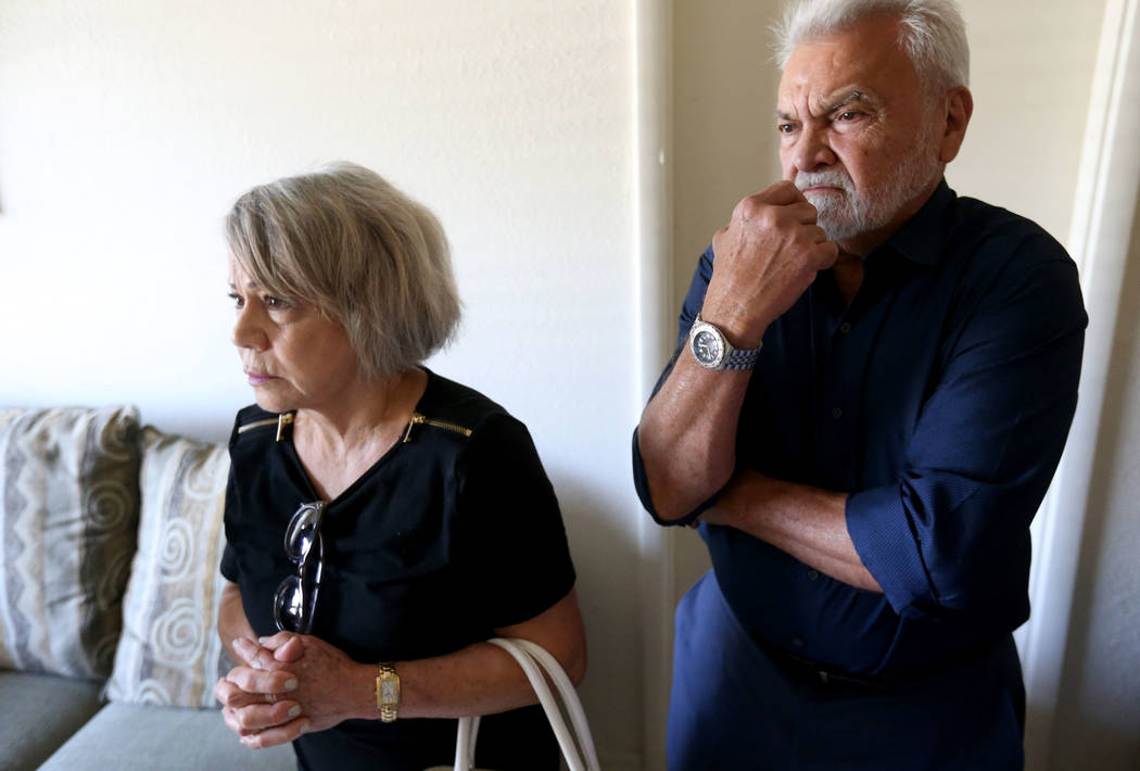 Josefina and Francisco Pacheco visit the Las Vegas independent living home Thursday, Aug. 9, 2018, where their niece, Ethel Matteos, was found dead from an apparent suicide. Matteos had been relea ...