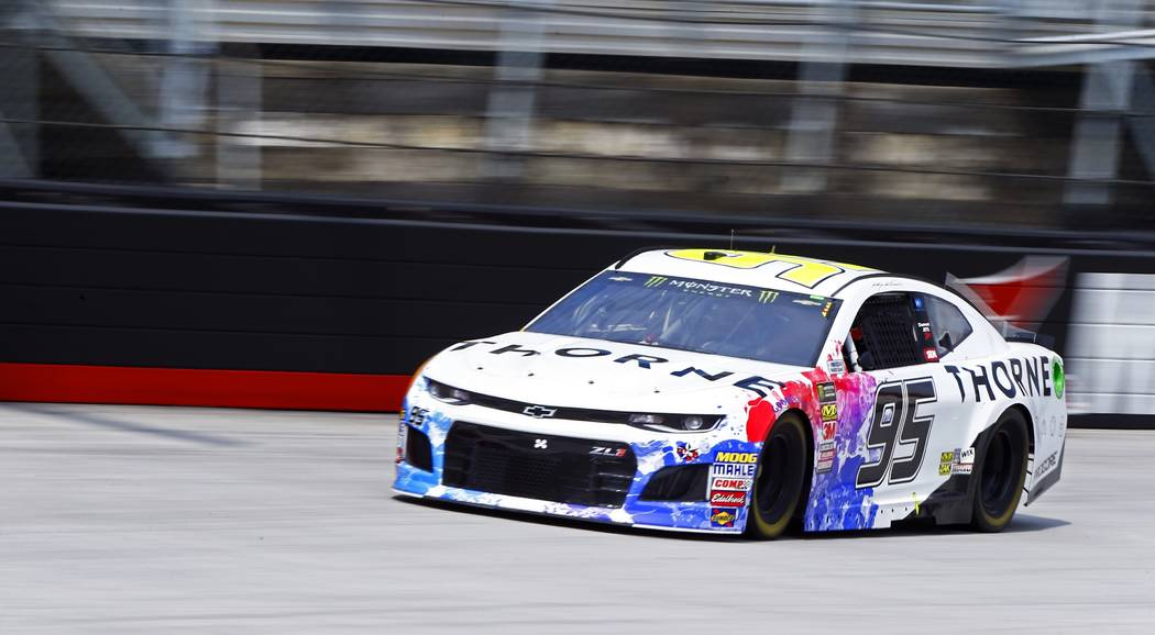 Kasey Kahne makes his way around the track during practice for a NASCAR Cup Series auto race, Friday, Aug. 17, 2018, in Bristol, Tenn. (AP Photo/Wade Payne)