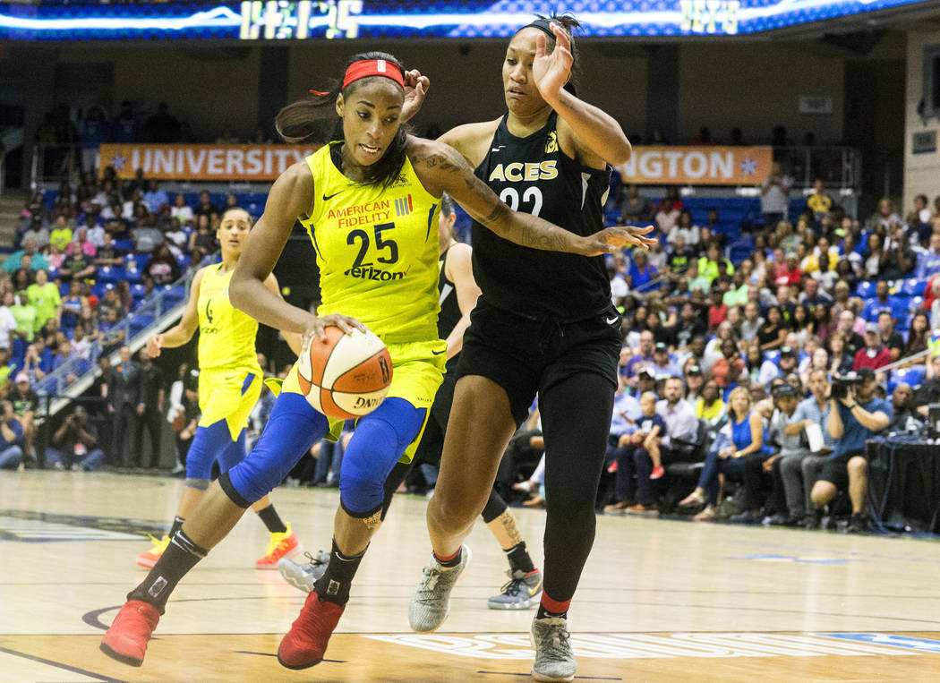 Dallas Wings forward Glory Johnson (25) dribbles the ball past Las Vegas Aces forward A'ja Wilson (22) during game against the Las Vegas Aces at College Park Center in Arlington, Texas on Aug. 17, ...