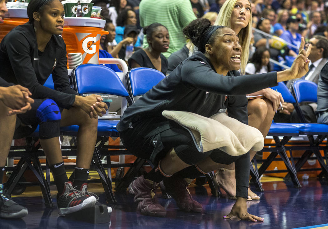 Las Vegas Aces center Kelsey Bone (3) yells at the during game against the Dallas Wings at College Park Center in Arlington, Texas on Aug. 17, 2018. The Wings defeated the Aces, 107-102. (Carly Ge ...