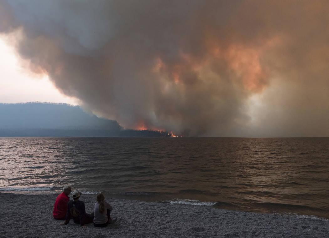 The Howe Ridge Fire burns at Glacier National Park, Mont., on Aug. 12, 2018. (Kristy Pancoast via AP)