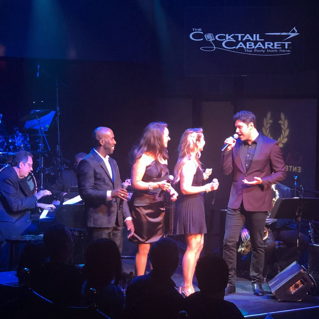 "Daniel Emmet, far right, sings with (from left) pianist Joey Singer, Eric Jordan Young, Niki Scalera, and Maren Wade during ""The Cocktail Cabaret"" at Cleopatra's Barge at Caesars Palace on Wednesd ..."