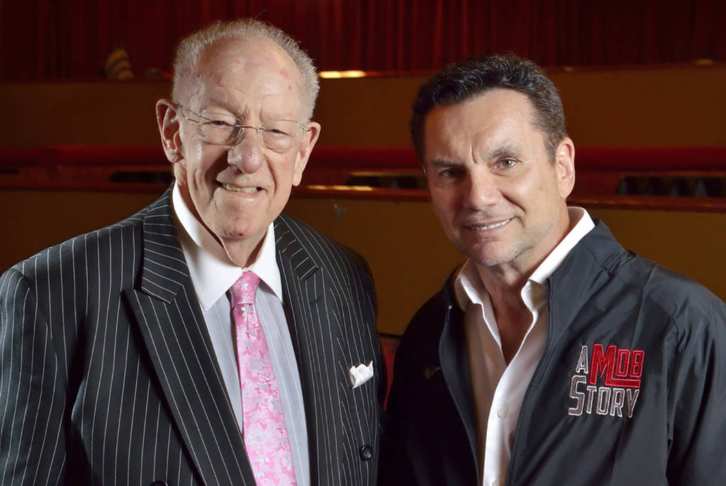 Former Las Vegas Mayor Oscar Goodman, left, and Michael Franzese, a reformed ex-mobster with the Columbo crime family, are shown in the Plaza Showroom on Friday, May 4, 2018, where Franzese is sch ...