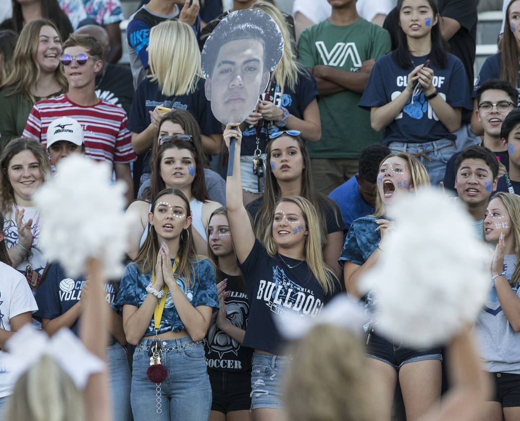 Centennial students cheer for the Bulldogs in the first quarter during their home matchup with Sierra Vista High School on Friday, Aug. 17, 2018, at Centennial High School, in Las Vegas. Benjamin ...