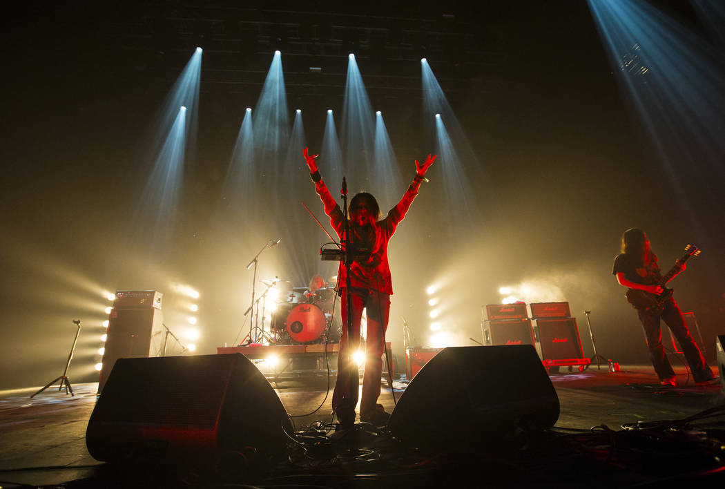 Hiroyuki Takano, center, of Church of Misery performs at The Joint during the Psycho Las Vegas music festival at the Hard Rock Hotel in Las Vegas on Friday, Aug. 17, 2018. Chase Stevens Las Vegas ...