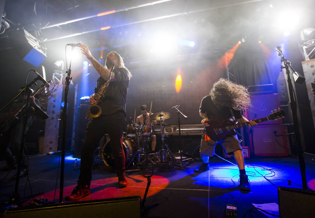 Bruce Lamont, center left, and Matt McClelland of Yakuza perform at Vinyl during the Psycho Las Vegas music festival at the Hard Rock Hotel in Las Vegas on Friday, Aug. 17, 2018. Chase Stevens Las ...