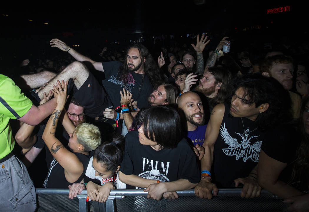 A fan crowdsurfs as High on Fire performs at The Joint during the Psycho Las Vegas music festival at the Hard Rock Hotel in Las Vegas on Friday, Aug. 17, 2018. Chase Stevens Las Vegas Review-Journ ...