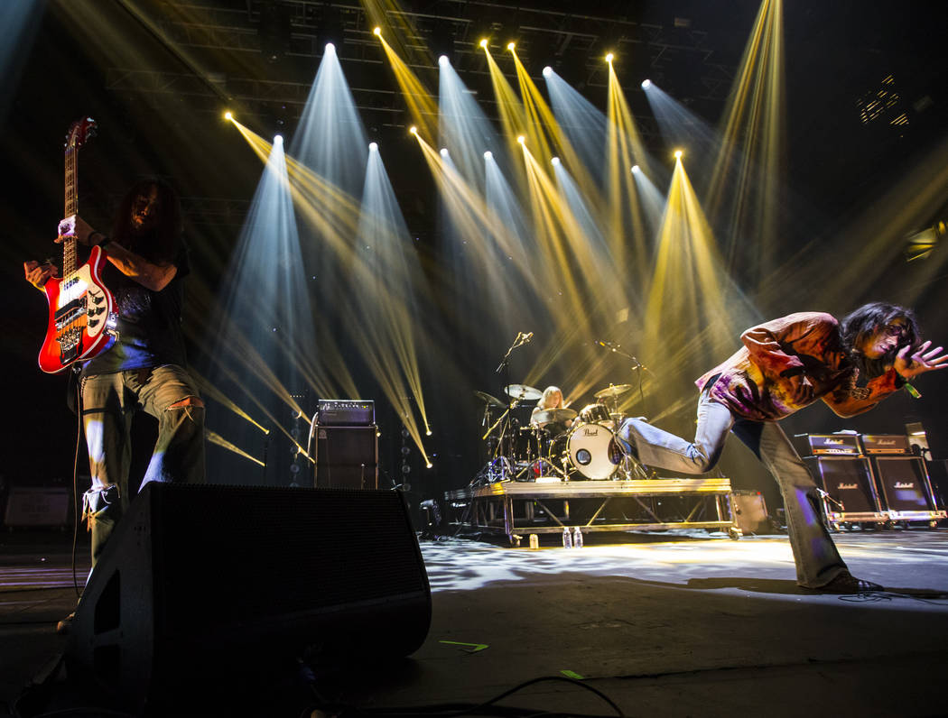 Tatsu Mikami, left, Hiroyuki Takano, right, of Church of Misery perform at The Joint during the Psycho Las Vegas music festival at the Hard Rock Hotel in Las Vegas on Friday, Aug. 17, 2018. Chase ...