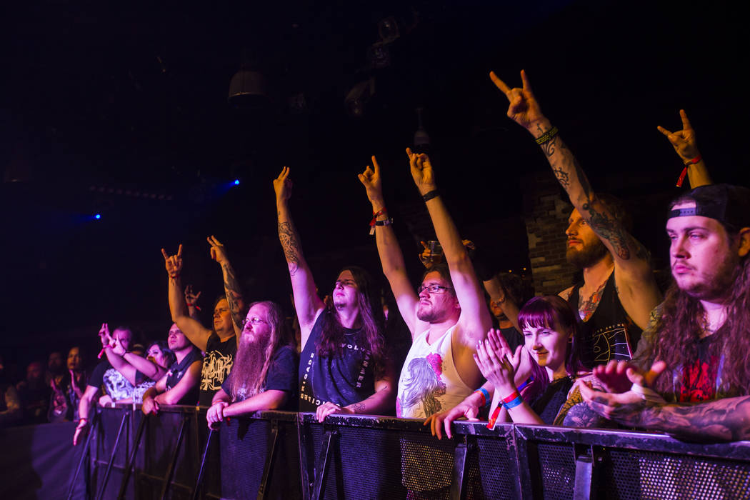 Fans cheer as Wolvhammer performs at Vinyl during the Psycho Las Vegas music festival at the Hard Rock Hotel in Las Vegas on Friday, Aug. 17, 2018. Chase Stevens Las Vegas Review-Journal @cssteven ...