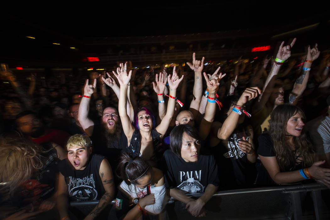 Fans cheer as High on Fire performs at The Joint during the Psycho Las Vegas music festival at the Hard Rock Hotel in Las Vegas on Friday, Aug. 17, 2018. Chase Stevens Las Vegas Review-Journal @cs ...