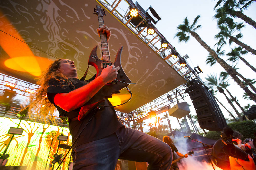 Daniel Mongrain of Voivod performs at the pool stage during Psycho Las Vegas at the Hard Rock Hotel in Las Vegas on Saturday, Aug. 18, 2018. Chase Stevens Las Vegas Review-Journal @csstevensphoto