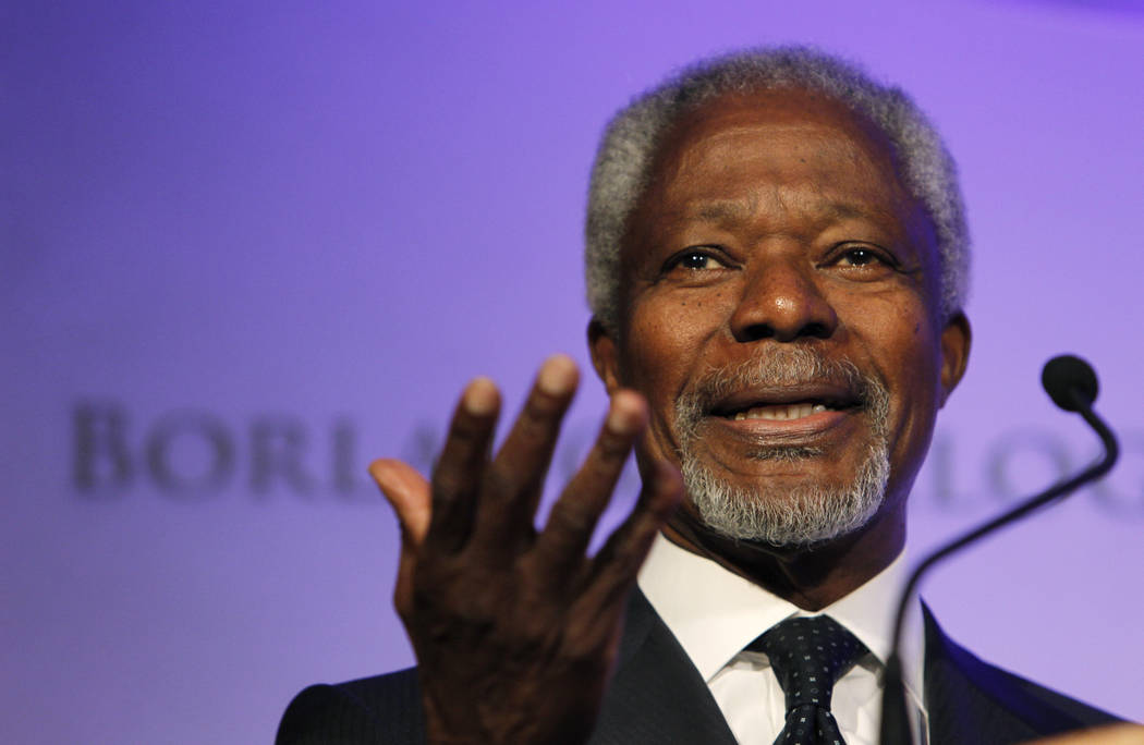 Former United Nations Secretary-General Kofi Annan speaks at the World Food Prize Symposium in Des Moines, Iowa, on Thursday, Oct. 14, 2010. Annan, one of the world's most celebrated diplomats and ...