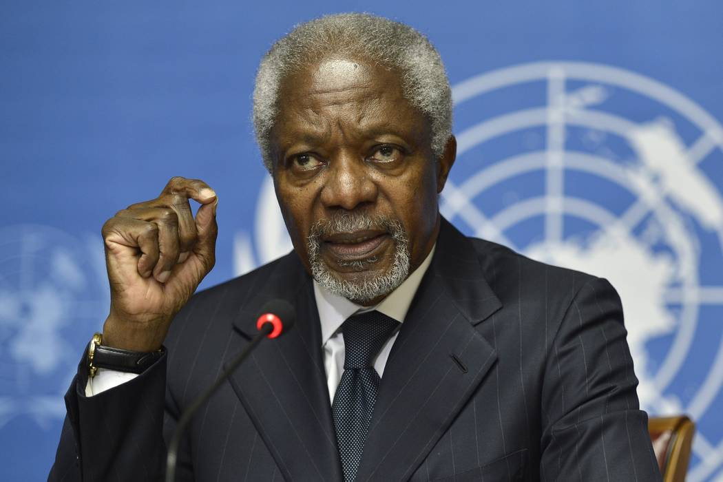 Kofi Annan speaks during a press briefing, at the European headquarters of the United Nations, UN, in Geneva, Switzerland, on Thursday Aug. 2, 2012. Annan, one of the world's most celebrated diplo ...