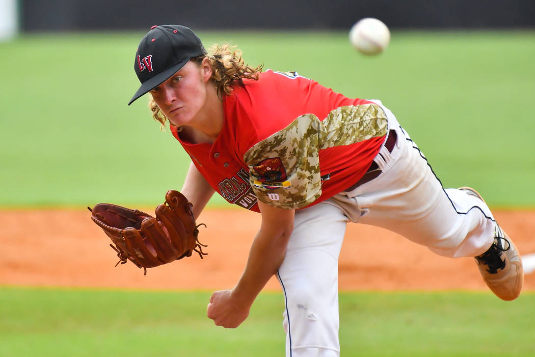 Josh Sharman pitches for Las Vegas, Nev., Post 40 in game seven of The American Legion World Series at Veterans Field at Keeter Stadium in Shelby, N.C., on Saturday, Aug. 18, 2018. Photo by Lucas ...