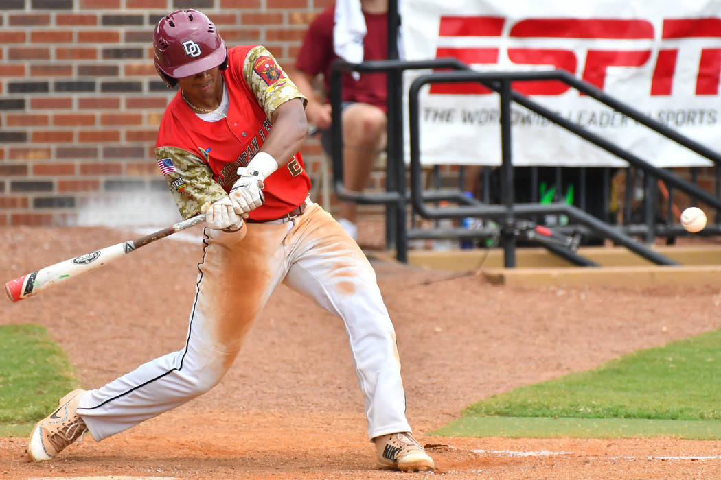 Las Vegas, Nev., Post 40's Edarian Williams hits in game seven of The American Legion World Series at Veterans Field at Keeter Stadium in Shelby, N.C., on Saturday, Aug. 18, 2018. Photo by Lucas C ...
