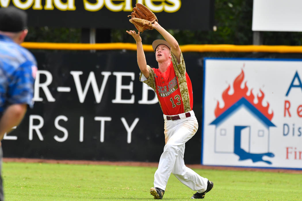 JordanDemarce of Las Vegas, Nev., Post 40 makes the grab in right field during game seven of The American Legion World Series at Veterans Field at Keeter Stadium in Shelby, N.C., on Saturday ...